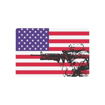 Autumn Fall welcome door mat doormat USA Flag Anti-slip  Home Decor, American Flag with US Marine Indoor Outdoor Entrance  Rubber Backing AT_76_7