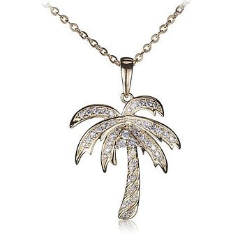 Sterling Silver Yellow Gold Plated Pave Cubic Zirconia Palm Tree Pendant(Chain Sold Separately)