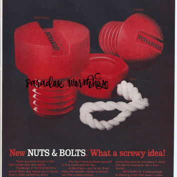Vintage 1969 60's Nuts & Bolts Cologne Soap After Shave Print Ad Wall Art Decor Man Cave