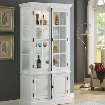 Acme 90300 Iovius white finish wood curio cabinet with accented hardware