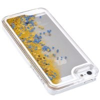 YiMoo For iPhone 5/ 5S Phone Case, Dynamic Liquid Glitter Sand Quicksand Star Case Crystal Clear Cellphone Back Cover for iPhone 5/ 5S Color Gold