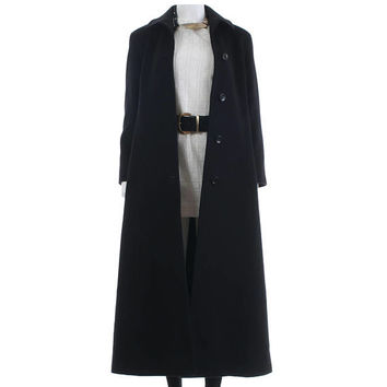 "Merino Wool Coat CALVIN KLIEN USA Long Black Coat Duster Jacket Slim Fit Maxi Coat Minimalist Vintage Clothing Women's Size S/Xs 35"" bust"