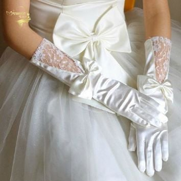 2018 Long Design White Red Satin Bow Lace Bridal Gloves Wedding Gloves Wedding Accessories G002