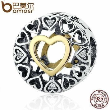 BAMOER Valentine's Day Gift 925 Sterling Silver Heart Loving Circle, Clear CZ Beads Charms Fit Bracelet Women Jewelry PSC050