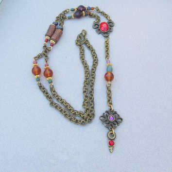 Signed Robert ROSE Vintage 1990's Long Crystal Bead Jeweled Antiqued Brass Y Necklace