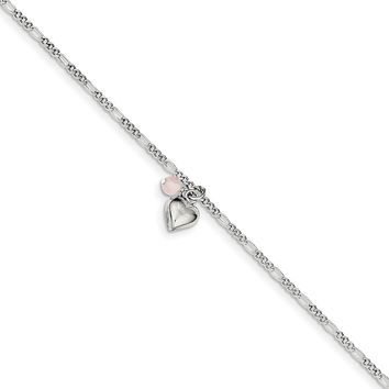 925 Sterling Silver 2mm Cherry Quartz and Dangling Hearts on Figaro Link Chain Necklace, Bracelet or Anklet