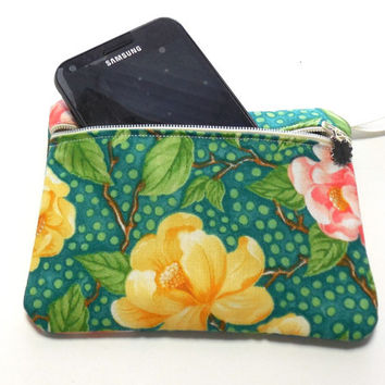 Gadget Bag Coin Purse Mini Pad or Tampon Pouch Rose Floral Print