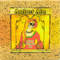 Dia De Los Muertos - Death Becomes You Amber Ale - Handmade Recycled Tile Coaster