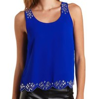 Jeweled Scalloped Tank Top by Charlotte Russe - Bright Cobalt