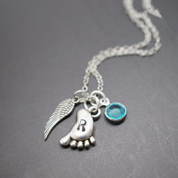 Birthstone  Hammered Foot Charm Angel Wing  Initial Necklace
