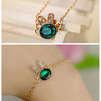 SL005  Europe fashion jewelry temperament lady exquisite simplicity crystal bracelet women sea green rabbit Bracelet