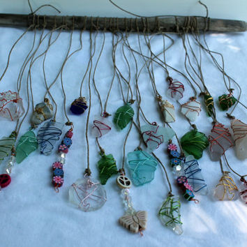 Beach Glass Sun Catcher-Driftwood Mobile-Seaglass Art-Bohemian Style-Peace & Love-Unique Gift