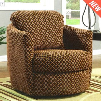 Diamond pattern fabric upholstered swivel accent chair with loose pillow back