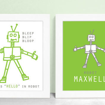 Robot Art Print Set - Baby Boy Robot Nursery Decor 8x10 Robots Kids Room Wall Art - Pewter / Leaf Green Shown