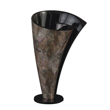 Howard Elliott Collection 22060 Mother of Pearl Short Twisted Vase