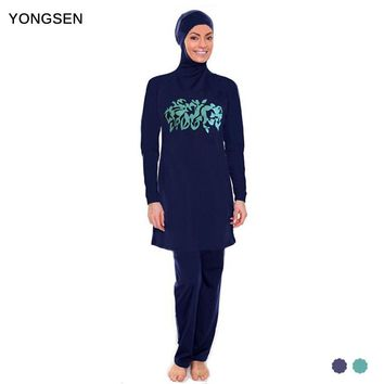YONGSEN Plus Size Women Muslim Swimwear Flower Print Full Coverage Islam Swimsuit High Quality Arab Beach Wear
