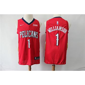 New Orleans Pelicans 1 Zion Williamson Basketball Jersey