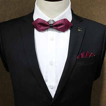 Formal Business Bow Ties For Mens Shirt Collar Bow Ties For Wedding Adjustable Bow Knots Necktie (Without Hanky)