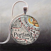 Portland Oregon map pendant Portland by thependantemporium on Etsy