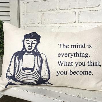 BUDDHA QUOTE PILLOW, Spiritual Pillow,Buddha Living, Buddha Throw Pillow,Buddha Decorating