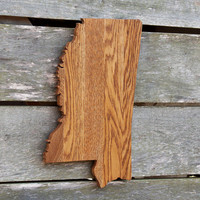 Mississippi state shape wood cutout wall art handcrafted from repurposed Oak flooring 11x18 in. Wedding Housewarming Cabin Rustic Gift Decor