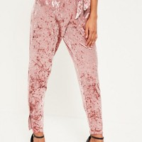 Missguided - Pink Velvet Belted Cigarette Trousers