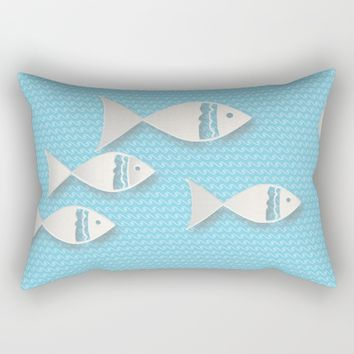 Fishes & Waves Rectangular Pillow by Mirimo
