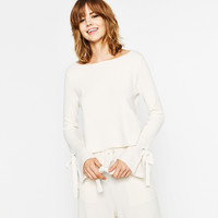 SWEATER WITH SLEEVE SLITS - NEW IN-WOMAN | ZARA United Kingdom