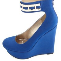 Gold-Accented Ankle Strap Platform Wedges by Charlotte Russe - Cobalt