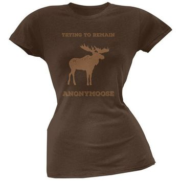 LMFCY8 PAWS - Moose Trying to Remain Anonymoose Brown Soft Juniors T-Shirt