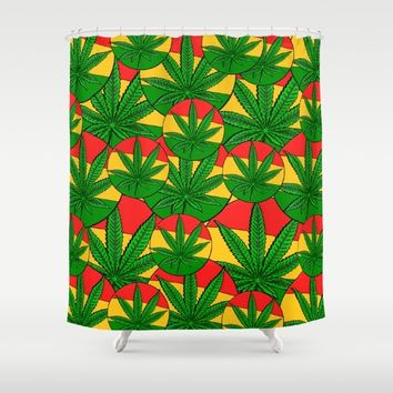 Feeling Sunny Rasta Green Shower Curtain by Peter Reiss