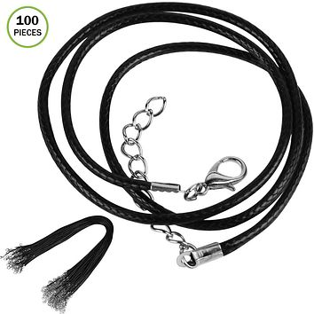 Evelots 100 PC Black Waxed Polyester Cord Necklaces With Lobster Clasps, DIY
