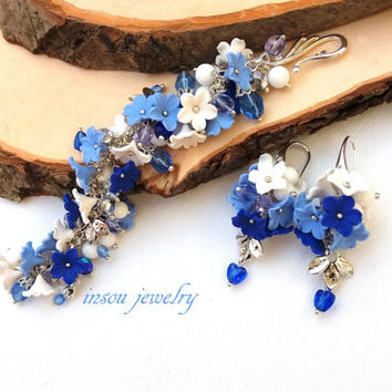 Christmas Jewelry, Christmas Bracelet, Blue Jewelry, Blue White, Flower Jewelry, Christmas Gift, Statement Bracelet, Romantic Earrings