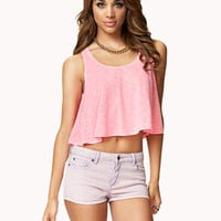 Flounced Slub Knit Crop Top