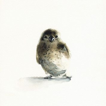 watercolor bird- Tiny - bird art, nature, watercolor painting, print
