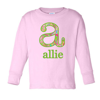 Paisley Initial Name on Personalized Pink Long Sleeve T-Shirt