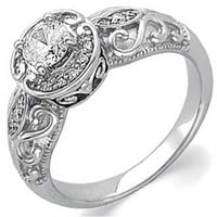 14K White Gold Vintage Style Semi-Mount Diamond Engagement Ring (Center stone is not included)