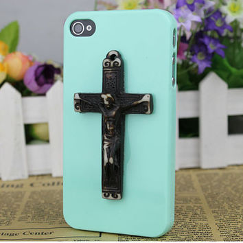 Green  Hard Case Cover With Jesus Cross for Apple iPhone 4 Case, iPhone 4 Cover,iPhone 4s Case, iPhone 4gs,Cellphone Cover C060