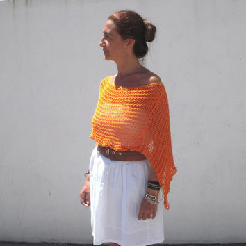 Knitted poncho, summer knit, tangerine shawl, summer cotton, knitted shrug, women knit