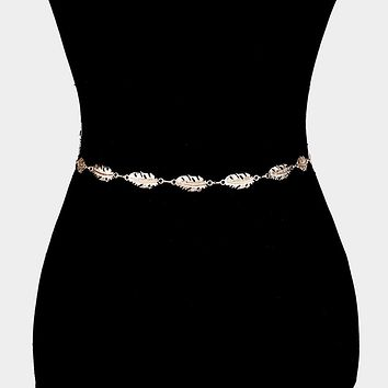 Metal Cut Out Leaf Waist Belt