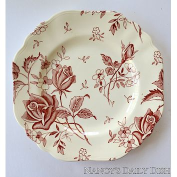 Red Square Plate Tudor Roses Rosebuds Vintage English Transferware Toile Flowers