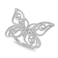 925 Sterling Silver CZ Butterfly Ring 19MM