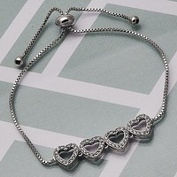Rhodium Layered Women Heart Fancy Bracelet, with White Micro Pave, by Folks Jewelry