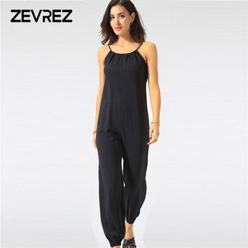 Summer Jumpsuit for Women Sexy Casual Black Sling Backless Lantern Pants Female Overalls Elegant Beach Rompers Plus Size Zevrez