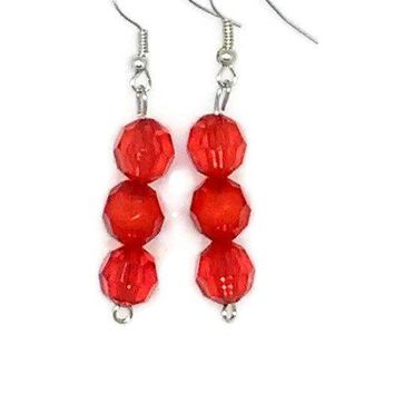 Red Faceted Round Beaded Earrings