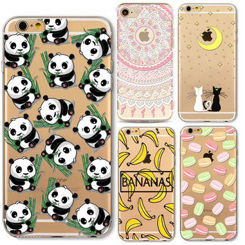 Phone Case For iPhone 6 6s 6sPlus 6Plus SE 5 5s Cover Flowers Girls Cat Cartoon Mandala Banana Panda Soft Silicone coque Capa