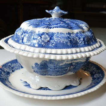 Large Blue English Scenic Transferware Soup Tureen Grazing Cattle Cows Sheep Horses Billy Goats  w/ Rose Thistle Shamrock Border
