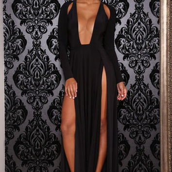 Black Long Sleeve Deep V Neck Double Side Split Maxi Dress