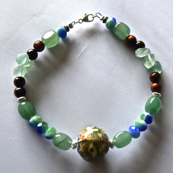 "Mental Clarity Green Aventurine Mood Bead 8 1/2"" Anklet"