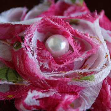 Hot Pink Vintage Floral Shabby Chic Vintage Inspired Hair Clip